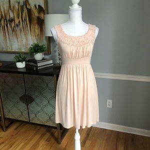 Blush beaded mini dress
